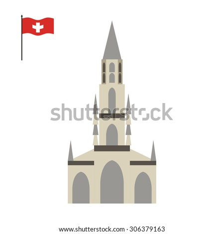 Berne Cathedral. landmark of Switzerland. Architecture attraction of  country. Vector illustration