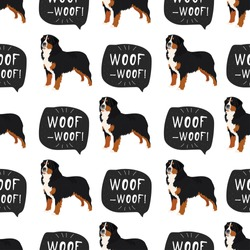Bernese Mountain Dog vector seamless pattern with hand drawn banner