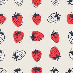 Berries fruit strawberry with leaves seamless pattern for textile prints, cards, design. Flat style strawberry pattern. Strawberry fruit pattern with seamless background illustration.