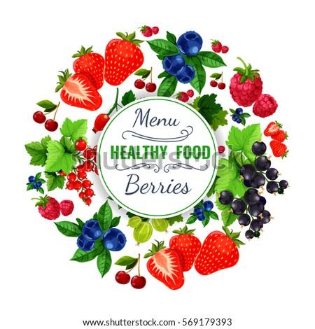 berries menu vector poster
