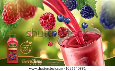 berry blend juice with fresh