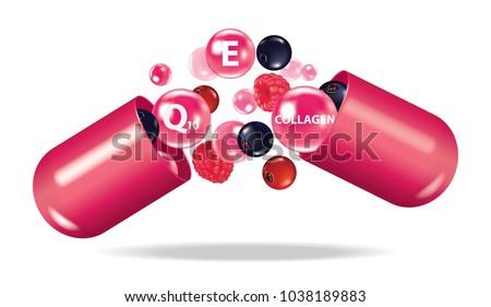 Berry medicine , drug , vitamin , open capsule vector illustration