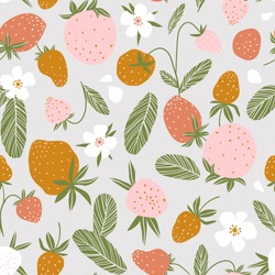 Berry seamless pattern for fabric design. Vector repeat background with strawberry and flowers.