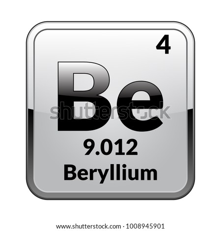Beryllium Symbolemical Element Of The Periodic Table On A Glossy