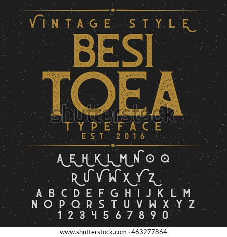 Besitoea Vintage font and sample label design. Good to use for vintage design, poster, whiskey label, logo, badge and etc.