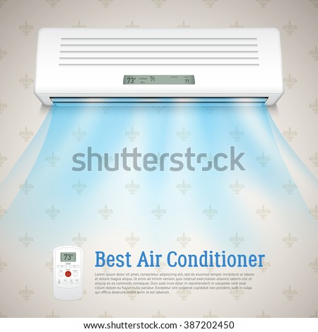 Best air conditioner realistic background with cold air symbols vector illustration