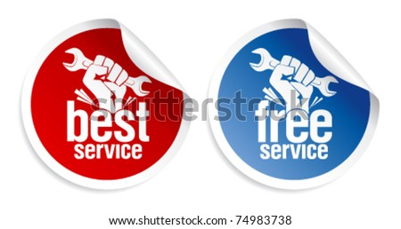 Best and free service guarantee stickers.