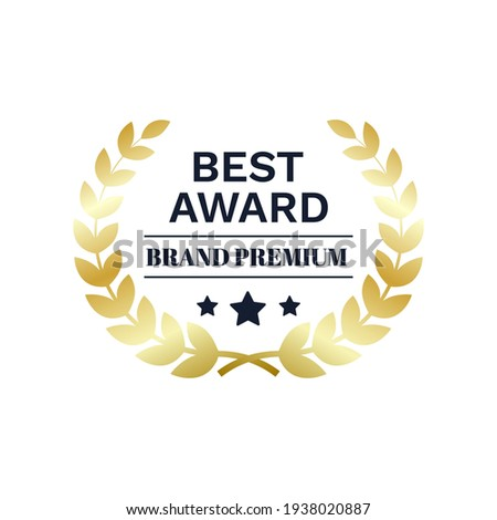 Best Award brand premium gold laurel wreath badge logo design tree star vector illustration isolated on white background.