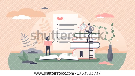 Best books list vector illustration. Top favorite literature sheet flat tiny persons concept. Feedback ranking winners graphic analysis from readers marks, votes and ratings. Quality literary work. Stockfoto ©