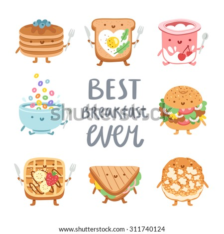 Http Www Shutterstock Com Pic 311740124 Stock Vector Best Breakfast Ever Collection Of Vector Food Characters Html