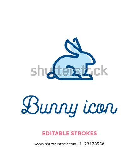 Best bunny outline icon. Minimal animal icon set, lucky rabbit. Easter holiday bunny symbol with editable stokes for infographics or web use. Flat design silhouette. Rabbit, ears and tail blue lines