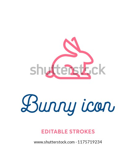 Best bunny outline icon. Minimal animal icon set, lucky rabbit. Easter holiday bunny symbol with editable stokes for infographics or web use. Flat design silhouette. Rabbit, ears and tail pink lines