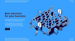 Best business solutions isometric landing page, businessman looking for way to reach goal through maze, employee try to pass labyrinth, challenge overcoming aim achieving 3d vector line art web banner