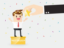 best businessman stand on pedestal getting five stars rating for working hard. employee successful in opportunity for advancement. positive feedback