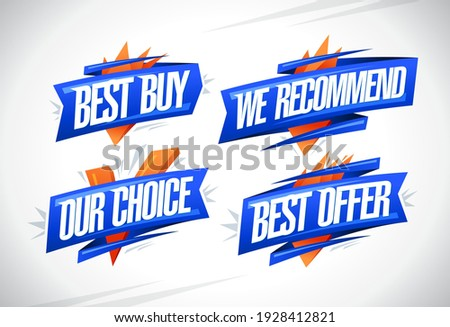 Best buy, we recommended, our choice, best offer - sale vector symbols collection
