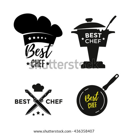 Best chef set of design icons or labels. Award cooking. Vector illustration
