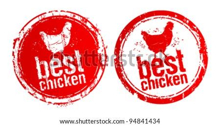 Best chicken vector stamps.