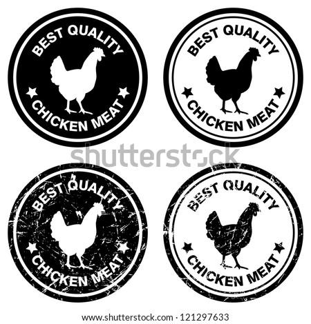 Best chicken vector stamps./ Grunge chicken meat stamp