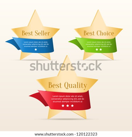 Best choice, best quality, best seller - golden stars with color ribbons