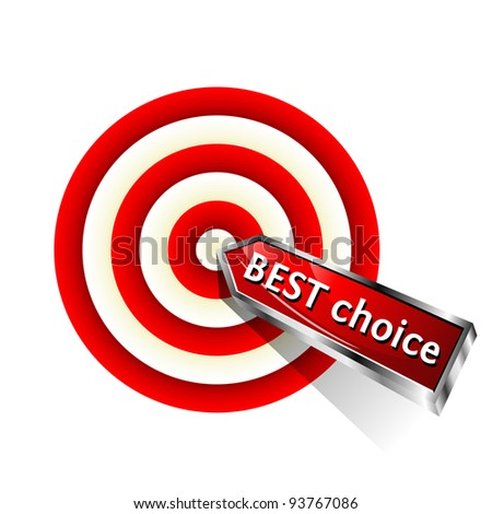 Best Choice. Concept business icon. Red dart hitting a target. Vector sign. - stock vector