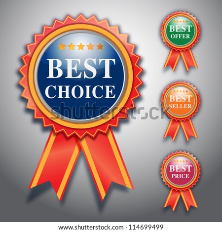 best choice label, vector design.