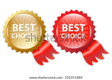 Best Choice Label With Ribbons, Isolated On White Background, Vector Illustration