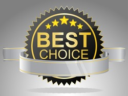 Best choice label with ribbons. Vector.