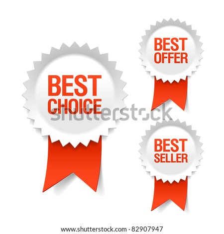 Best choice, offer and seller labels with ribbon. Vector.