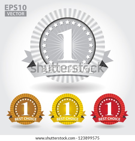 Best Choice Ribbon Sticker and Sign with number one and stars - EPS10 Vector