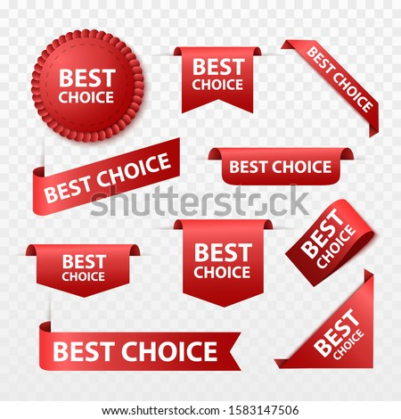 Best choice tags isolated, labels or badges on white background. Best choice vector ribbon banners