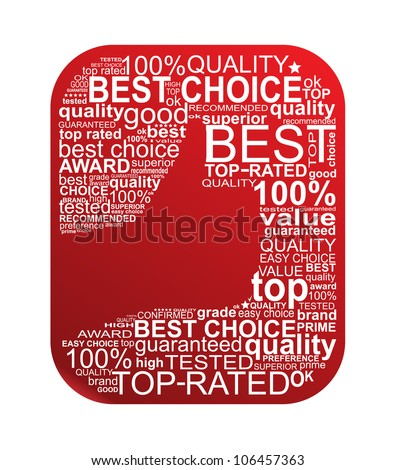 Best Choice Typography Sign. Thumb Up Gesture. - stock vector