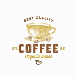 Best Coffee Abstract Vector Sign, Symbol or Logo Template. Hand Drawn Coffee Cup and Beans Sketch Sillhouette with Retro Typography. Vintage Beverage Emblem. Isolated.