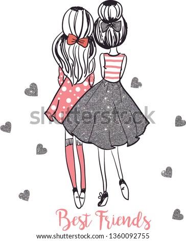 Best friends fashion illustration Digital Download