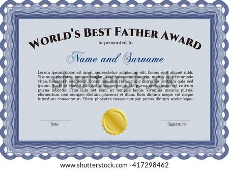 Best Dad Award. Border, frame. With quality background. Superior design.