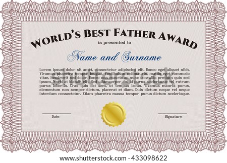 Best Dad Award Template. Excellent complex design. With guilloche pattern and background. Vector illustration.