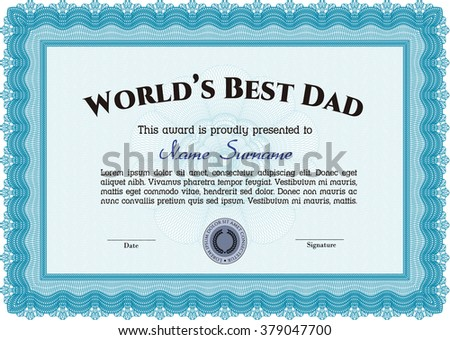 Best Dad Award Template. Vector illustration. Excellent complex design. With complex linear background.