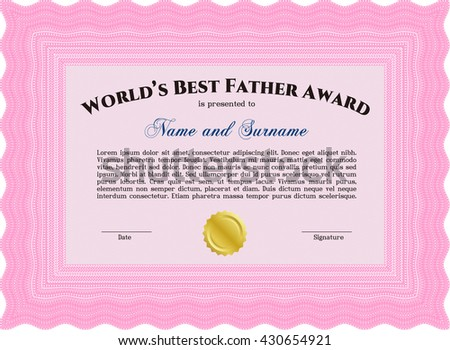 Best Dad Award. With quality background. Border, frame. Superior design.