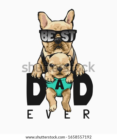 best dad slogan with father and son dog illustration ストックフォト ©