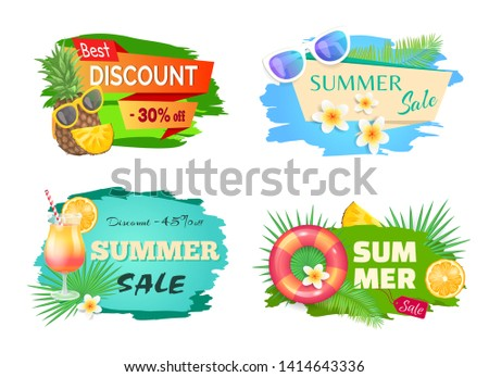 Best discount summer offer banners vector. Cocktail with straw and orange, palm tree leaves and pineapple wearing sunglasses, summertime stikers. Flowers floral elements