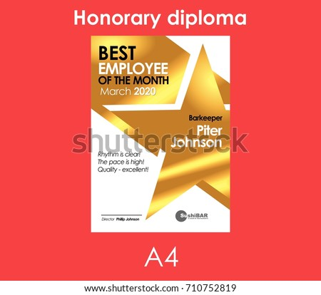 Best Employee of the Month Gold Diploma or muniment template vector design illustration