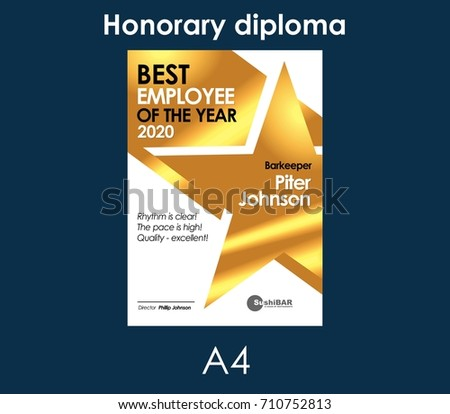 Best Employee of the Year Gold Diploma or muniment template vector design illustration