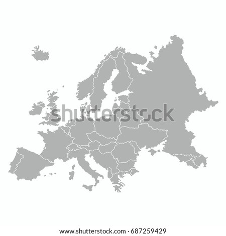 best Europe map with country outline graphic vector