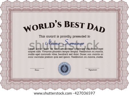 Best Father Award. Beauty design. With linear background. Border, frame.