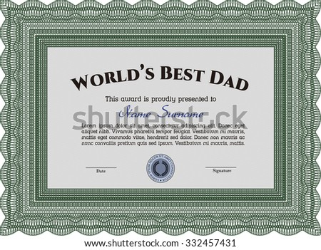 Best Father Award Template. Elegant design. Customizable, Easy to edit and change colors.With quality background.