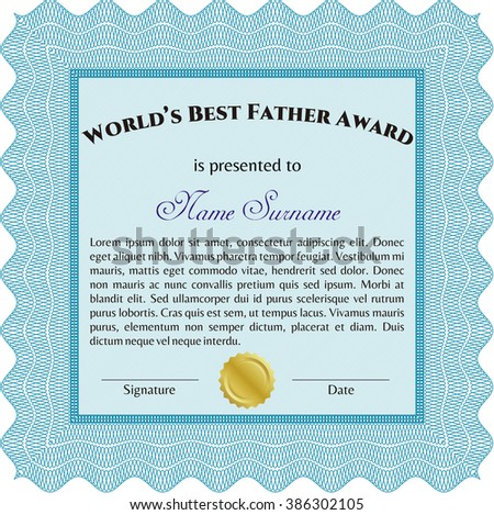 Best Father Award Template. Elegant design. Vector illustration. With guilloche pattern and background.