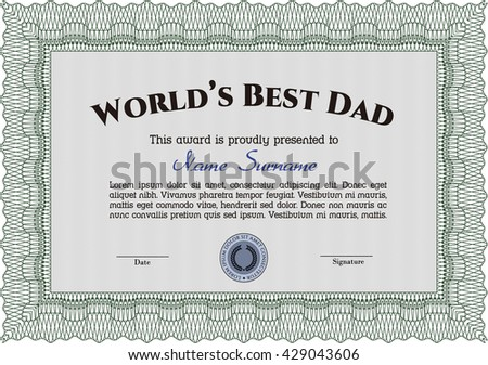 Best Father Award Template. Vector illustration. With guilloche pattern. Retro design.