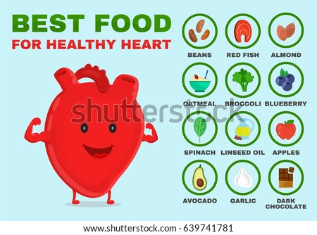 Best food for healthy heart. Strong heart character. Vector flat cartoon illustration icon. Isolated on blue background. Health food, diet, products, nutrition, nutriment infographic concept
