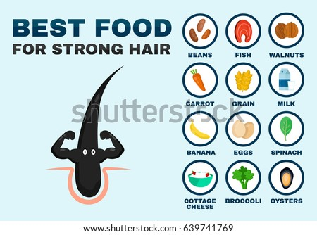 Best food for strong hair. Strong healthy hair character. Vector flat cartoon illustration icon. Isolated on blue background. Health food,diet,medicine,nutrition,nutriment,growth infographic concept