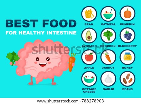 Best food for strong intestine.Strong healthy intestine character. Vector flat cartoon illustration icon. Isolated on blue backgound. Health food,diet,products,nutrition,nutriment infographic concept