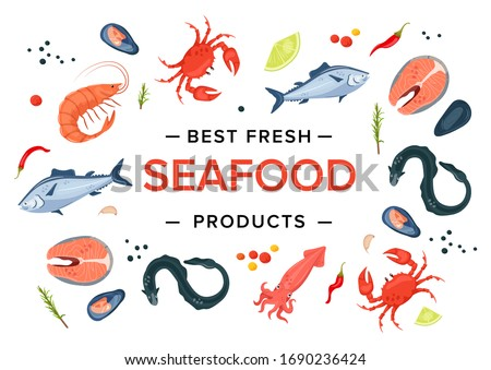 Best fresh seafood products banner. Shrimp, octopus, squid, crab, eel, steak, mussels, fish, cancer. Seafood menu concept cartoon vector illustration.
